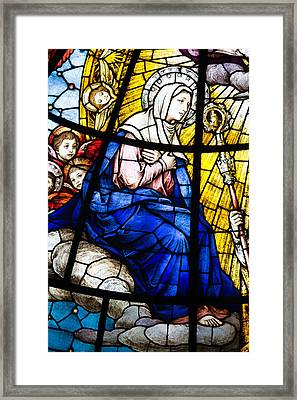 Virgin Mary In Stained Glass Framed Print