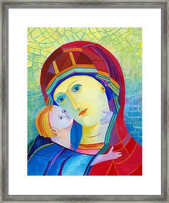 Vladimir Virgin Mary And Child, Mother Mary Madonna With Child. Polish Catholic Art  Framed Print