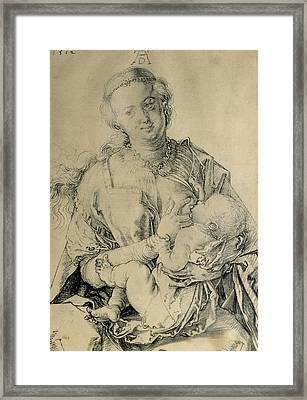 Virgin Mary Suckling The Christ Child, 1512 Charcoal Drawing Framed Print