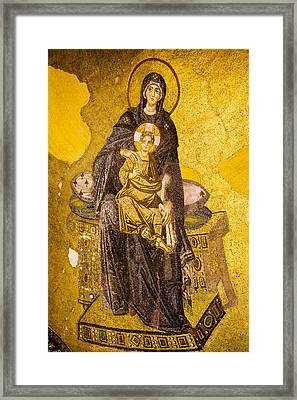 Virgin Mary With Baby Jesus Mosaic Framed Print