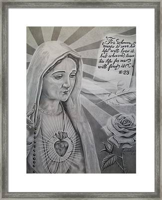 Virgin Mary With Flower Framed Print by Anthony Gonzalez