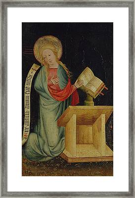 Virgin Of The Annunciation, From The Harvester Altar, C.1410 Tempera On Oak See Also 145253 Framed Print by Master Bertram of Minden