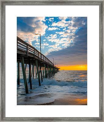 Virginia Beach Pier Into The Sun Framed Print by Dawn Romine