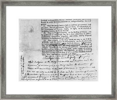 Virginia: Bill Of Rights Framed Print