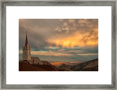 Virginia City Sunset Framed Print by Janis Knight