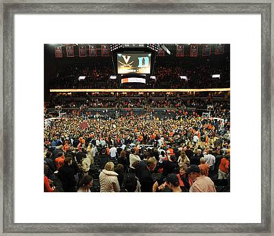 Virginia Fans Storm Court At John Paul Jones Arena Framed Print by Replay Photos