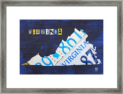 Virginia License Plate Map Art Framed Print