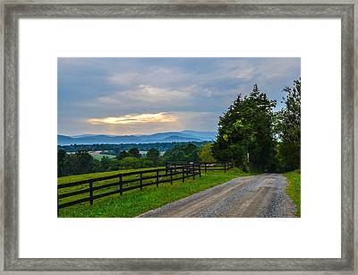 Virginia Road At Sunset Framed Print by Alex Zorychta