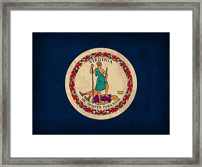 Virginia State Flag Art On Worn Canvas Framed Print