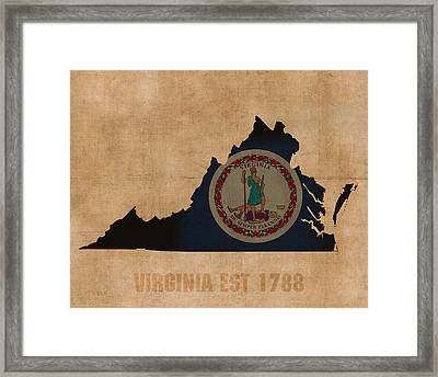 Virginia State Flag Map Outline With Founding Date On Worn Parchment Background Framed Print