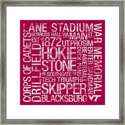 Virginia Tech College Colors Subway Art Framed Print