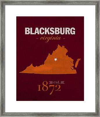 Virginia Tech University Hokies Blacksburg College Town State Map Poster Series No 120 Framed Print by Design Turnpike
