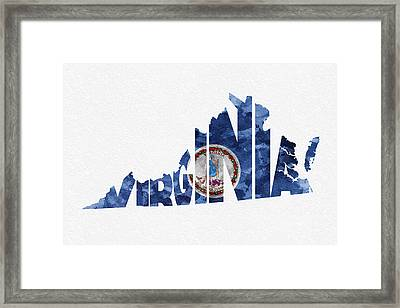Virginia Typographic Map Flag Framed Print by Ayse Deniz