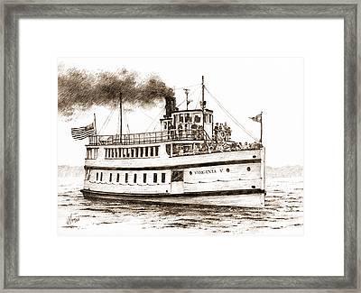 Virginia V Steamship Sepia Framed Print by James Williamson