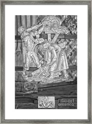 Virgo Zodiac Sign - St Vitus Cathedral - Prague - Black And White Framed Print