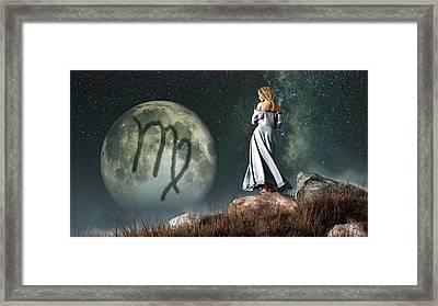 Virgo Zodiac Symbol Framed Print by Daniel Eskridge