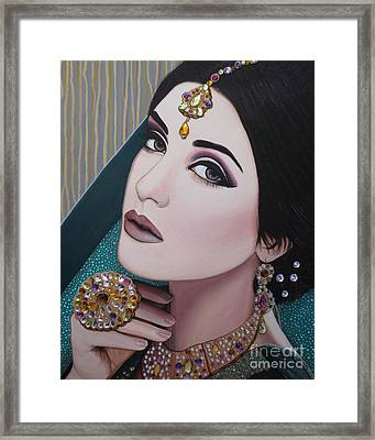 Viridian Indian Beauty Framed Print