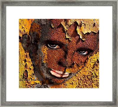 Virtual Face In Grafitti Framed Print