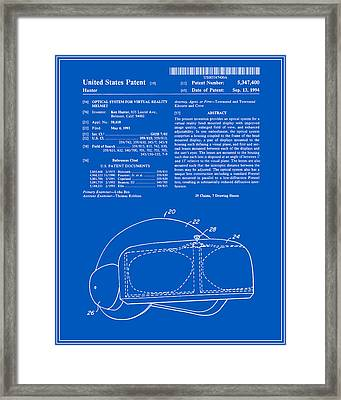 Virtual Reality Helmet Patent - Blueprint Framed Print by Finlay McNevin