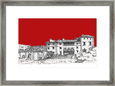 Viscaya Museuem And Gardens In Scarlet Framed Print by Building  Art