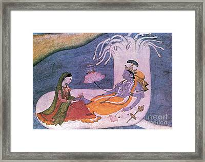 Vishnu And Lakshmi Float Across Cosmos Framed Print by Photo Researchers