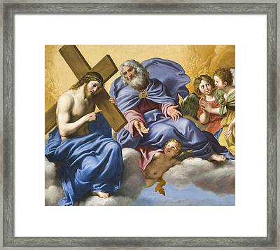 Vision Of Christ And God Detail Framed Print by Domenico Zampieri