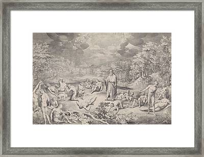 Vision Of Ezekiel Across The Valley Of Bones Framed Print by Nicolaes De Bruyn