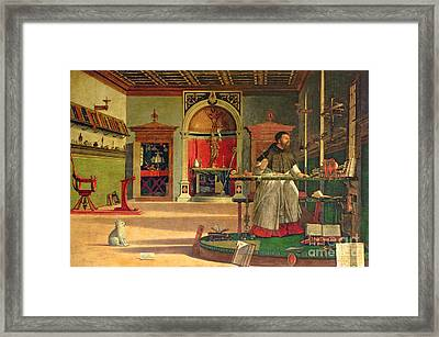 Vision Of St. Augustine Framed Print by Vittore Carpaccio