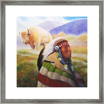 Visions Of The Sacred White Buffalo Framed Print by Charles Wallis