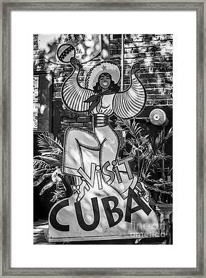Visit Cuba Sign Key West - Black And White Framed Print