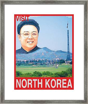 Visit North Korea Travel Poster Framed Print by Finlay McNevin