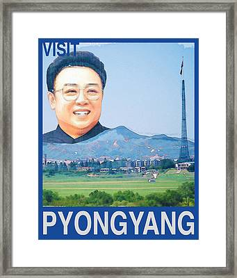 Visit Pyongyang Travel Poster Framed Print by Finlay McNevin