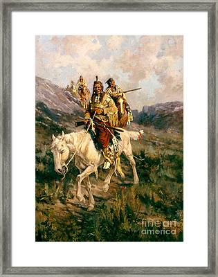 Visit To Another Tribe Framed Print by Edgar Samuel Paxson