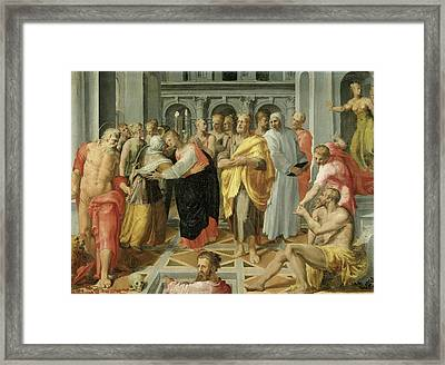 Visitation Meeting Of Mary And Elizabeth In The Presence Framed Print by Litz Collection