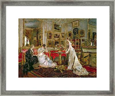 Visiting Framed Print by Alfred Emile Stevens