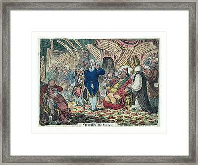 Visiting The Sick, Gillray, James, 1756-1815 Framed Print