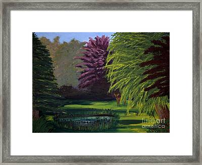 Visitor To The Backyard Pond Framed Print by Vicki Maheu