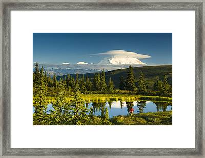 Visitor Viewing The Northside Of Mt Framed Print