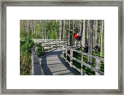Visitors In A Nature Reserve Framed Print by Jim West