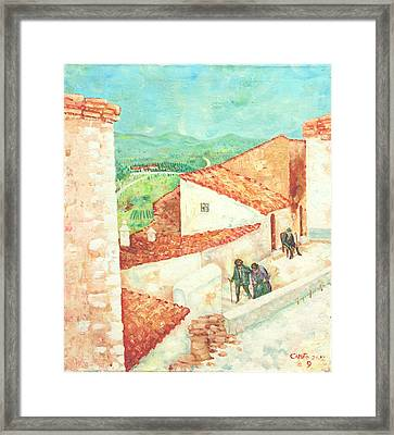 Framed Print featuring the painting Vista Cimitero - Forenza by Giovanni Caputo