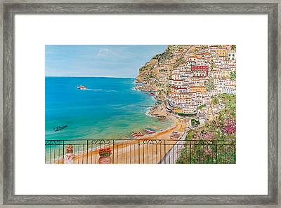 Framed Print featuring the painting Vista Su Positano by Loredana Messina