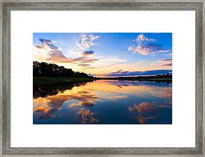 Vistula River Sunset Framed Print by Tomasz Dziubinski