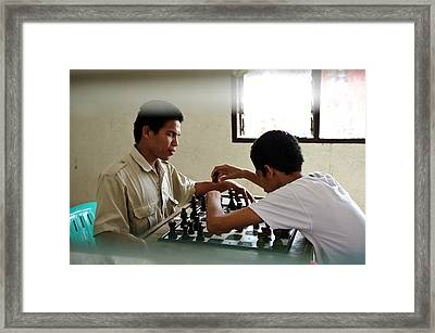 Visually Impaired People Playing Chess Framed Print