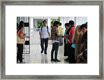 Visually Impaired University Student Framed Print