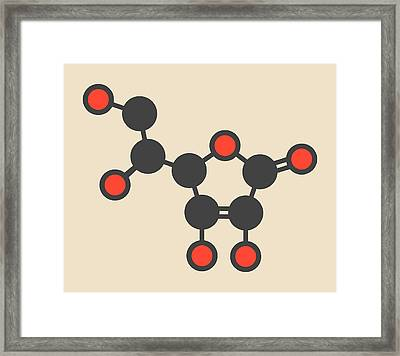 Vitamin C Molecule Framed Print by Molekuul