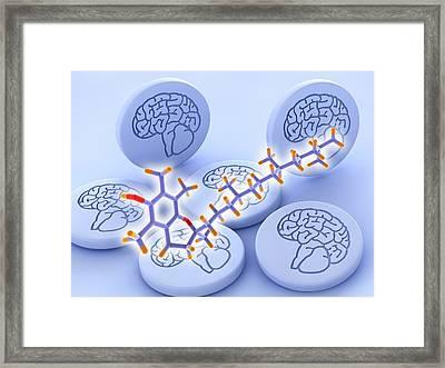 Vitamin E Molecule And Brain Drug Pills Framed Print