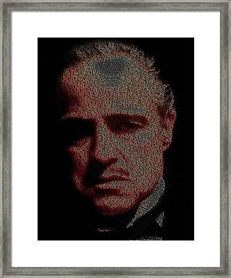 Vito Corleone The Godfather Quotes Mosaic Framed Print by Paul Van Scott
