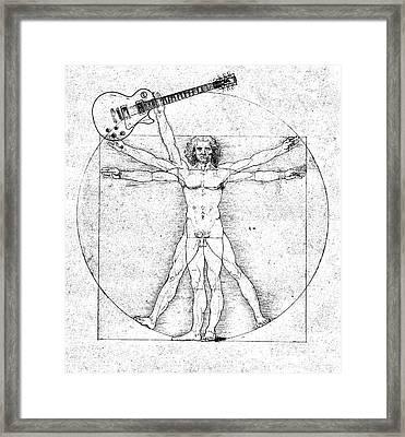 Vitruvian Guitar Man Bw Framed Print