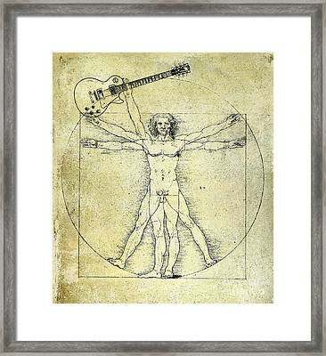 Vitruvian Guitar Man Framed Print by Jon Neidert