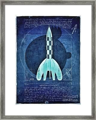 Vitruvian Tintin In Space Framed Print